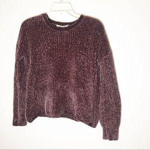 Pink Rose Purple Chenille Sweater M